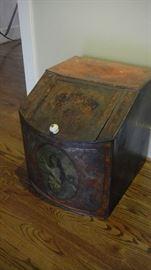 primitive painted metal bin