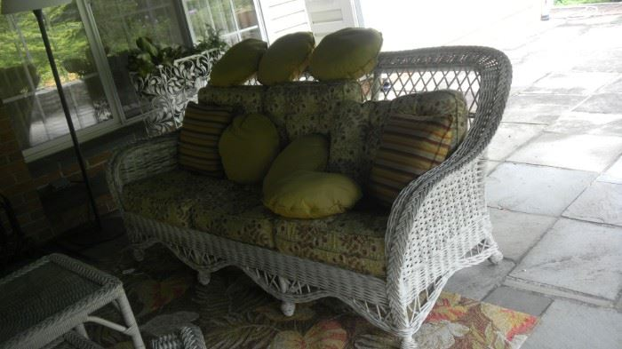 wicker sofa, outdoor set with cushions