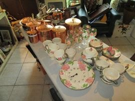 more Franciscan Desert Rose and copper cookware