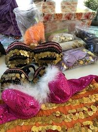 Belly Dance accessories, costumes, hip scarves, beaded and coin  bras . . Lots more