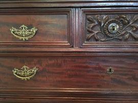 Detail of mahogany dresser