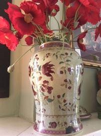 Painted ceramic ginger jar