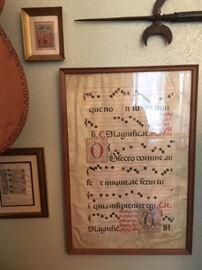 Framed leaf of Gregorian Chant