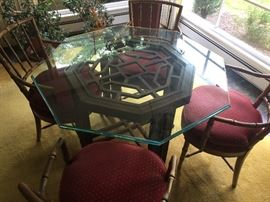 Aisian inspired bamboo style glass top table with 4 chairs