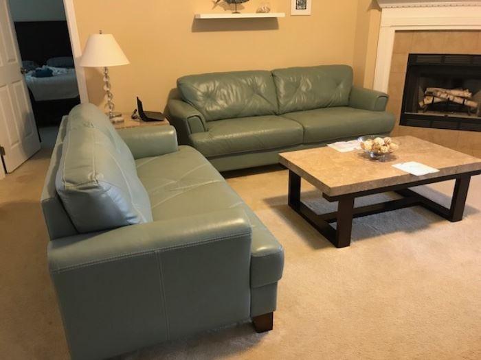 Blue leather sofa & loveseat