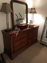 Louis Phillippe Solid cherry bedroom set by Mount Airy Furniture Co..dresser w/ mirror shown