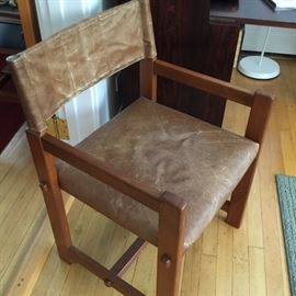 Vintage water buffalo hide teak chair from 1960s purchased in Thailand