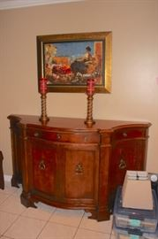 Credenza with Art and Pair of Candlesticks