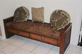 Bench with 2 Drawers, Cushion and Decorative Pillows