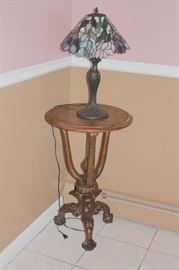 Small Round Side Table with Tiffany Style Lamp