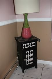 Fun Cabinet in Black & White Diamond Pattern with Table Lamp
