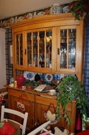 Very Nice Antique French Pine Curved China Cabinet