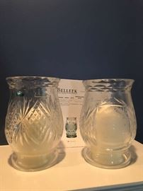 Belleek (Galway Crystal) Hurricane Lamps with Candles