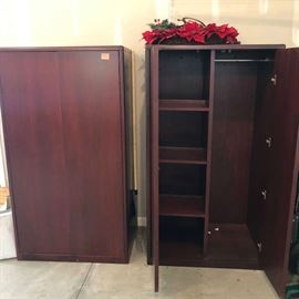 Solid wood storage cabinets or armoires (very heavy)