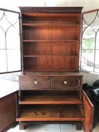 Antique Wood Buffet with Hutch. Centre drawer can fold down to a become a desk