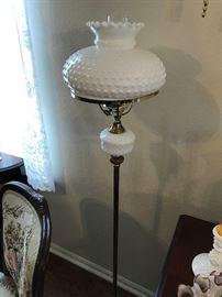 Milk Glass Hobnail Floor Lamp