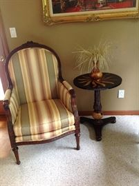 Thomasville Striped Chair.  Table is not for sale.