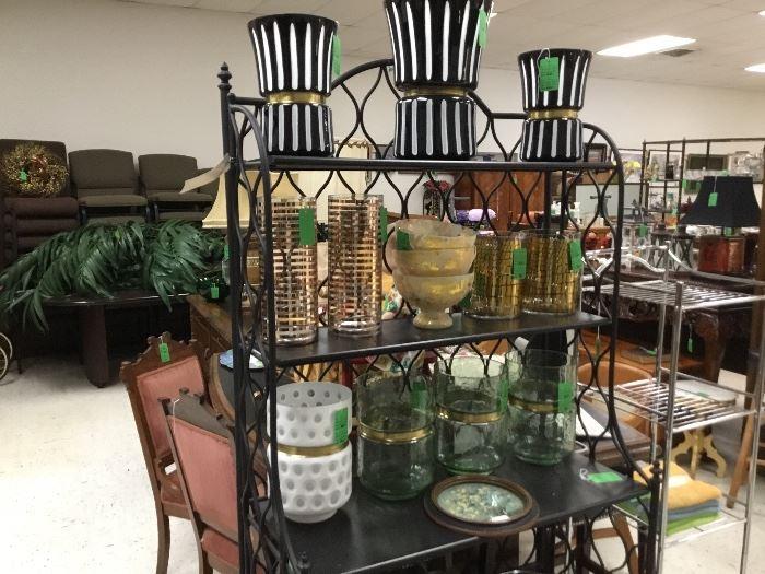 Decorator glass items - black & white stripe, gold, white and more