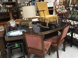 Large curved conference table + 4 matching leather stools - buy one or all!