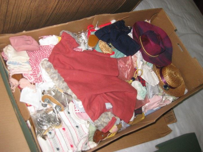 Box of old Ginny, Jerri Lee, and other doll clothes