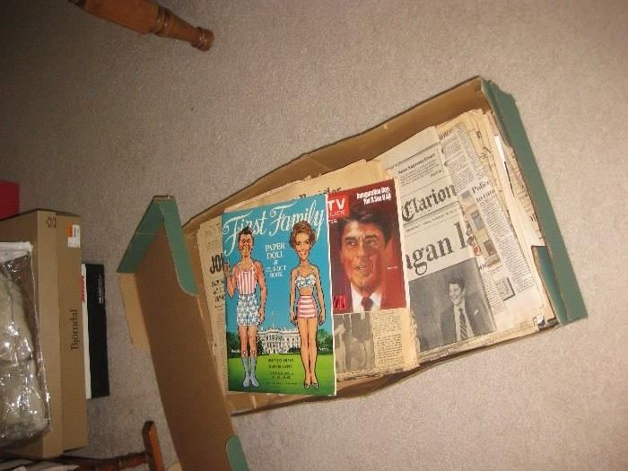 Old paper dolls and vintage newspapers and memorabilia