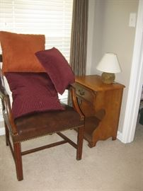 Great antique side chair, with nite stand to match bedroom suite