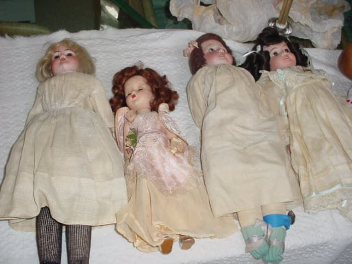 "AM ""Floradora"" doll, 2 vintage German, and 1 old French doll"