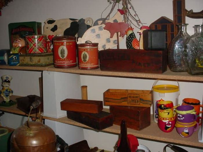 Old tins, boxes, advertising and more