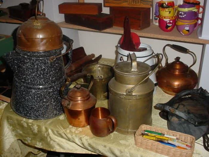Many old pots, granite ware, and more