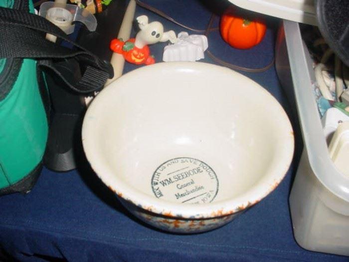 Old stoneware advertising bowl