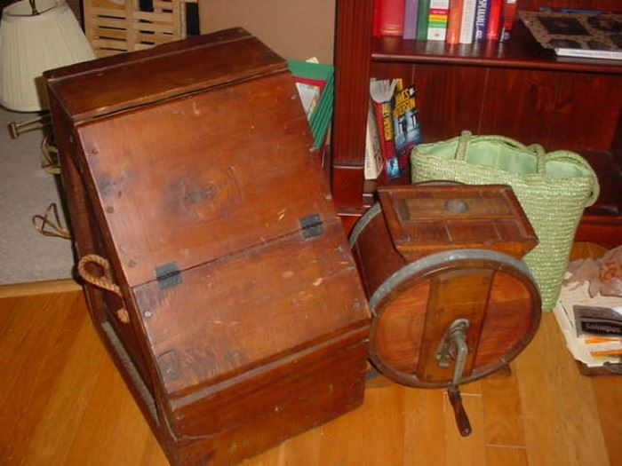 This is an original wooden shipping crate, marked National Cash Register, as was the crate the register was shipped in, plus wonderful old churn beside it