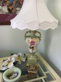 One of a pair of lovely porcelain lamps