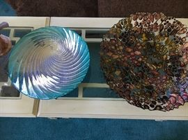 Two pieces of glass in the style of studio glass