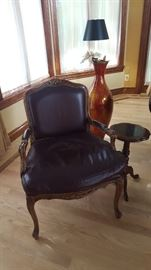 $75 leather chair with wood arms