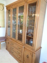 one of 2 china cabinets, pressed glass & silver plate flatware