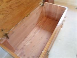 inside of cedar chest