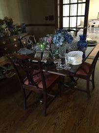 Dining Room set: Corner Hutch, sideboard, Table with Leaf to sit 8, chairs (4), heat pad. Can separate.