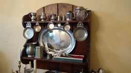 wall shelf and pewter