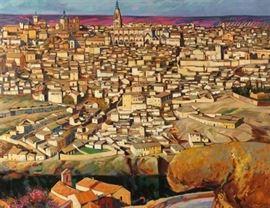 "Artist: Felix Nunez Molinero, Spanish                                   Title:  ""Toledo"" Signature:  Signed and Titled Size:  32"" x 40""                                                                      (81.28cm x 101.60cm) Medium: Oil / Canvas"