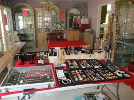 2 TABLES OF DESIGNER JEWELRY