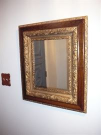 Nice Antique Gilt and Wood framed mirror about 24 inches square
