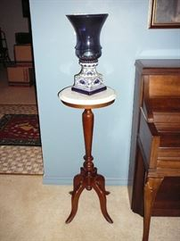 Nice Antique Marble topped stand with blue and white porcelain vase