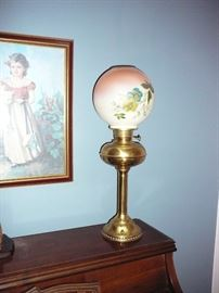 Antique Banquet style oil lamp with hand painted shade