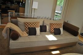 Merchandise Mart, Brusic Rose Show Room, Fine Artisan Craftsmanship Couch, Custom Fabric, Plush, Oatmeal Tweed Framed in Thick Tan Leather, Custom Pillows