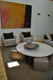 Round, Custom Low Seat Coffee Table, 3 Tan Leather Seats Tucked Under, Merchandise Mart