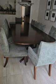 Baker Dining Table, 10 Plush Upholstered Chairs