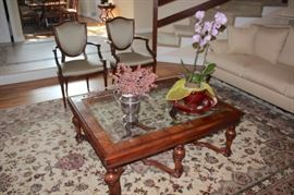 Rug, Wood & Glass Coffee Table, Pair of Side Chairs, Orchid and Small Floral Decorative