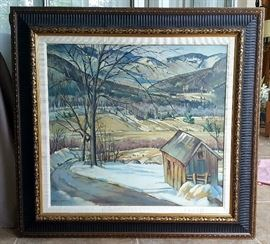 Oil canvas painting by Avril Conwell Landscape with barn