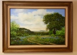 Oil painting on canvas by Stelzer Approximately 23.5 × 35 .5 Landscape Country Lane
