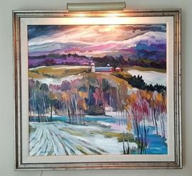 Winter landscape oil canvas painting by Frank Larson approximately 35.5× 40